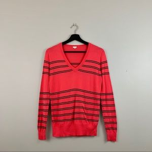 J.Crew | Coral & Navy Striped V Neck Sweater